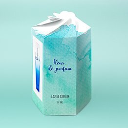 Impression packaging parfum hexagonale