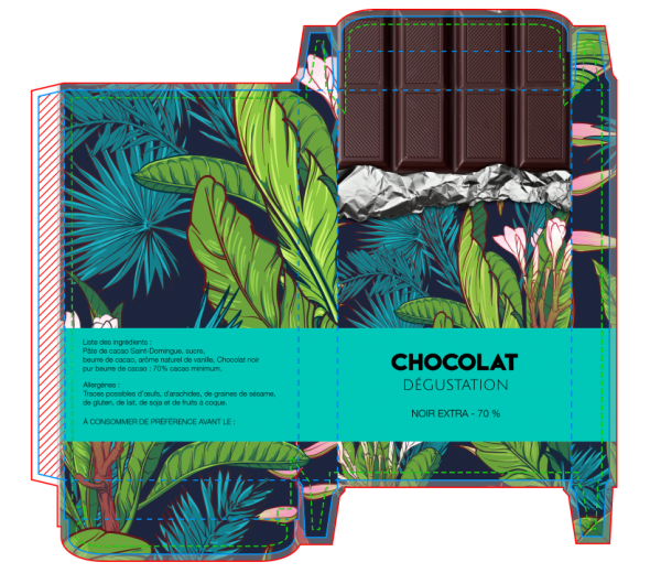 créer un packaging de tablette chocolat à partir d'un exemple existant
