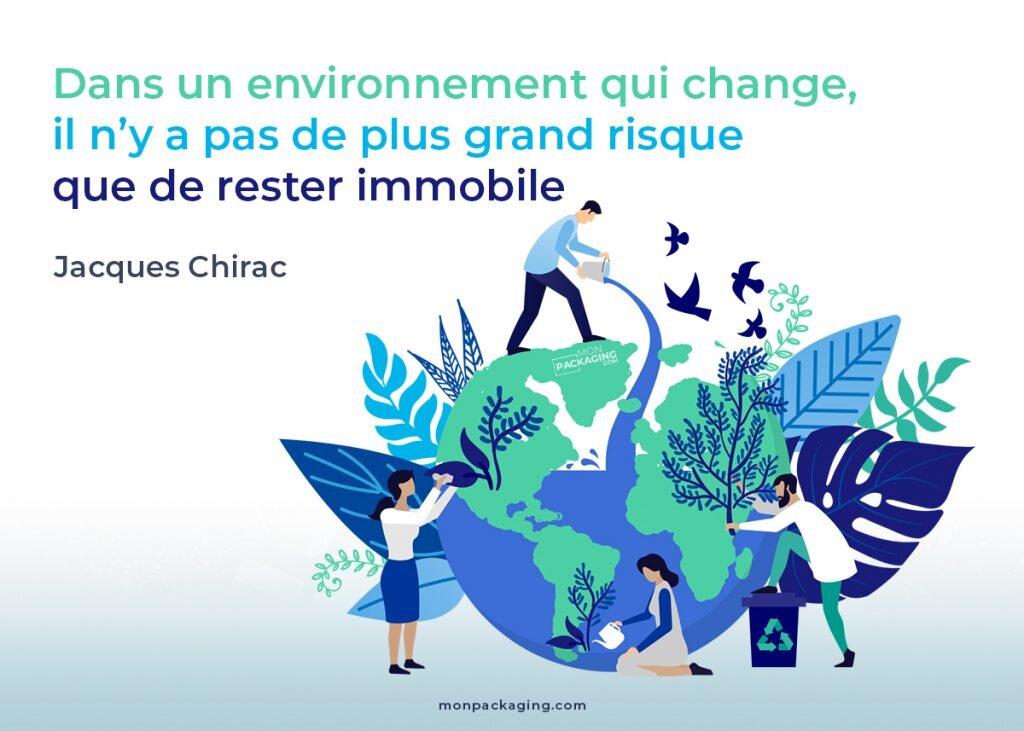 citation Jacques Chirac. Environnement qui change, risque de rester immobile