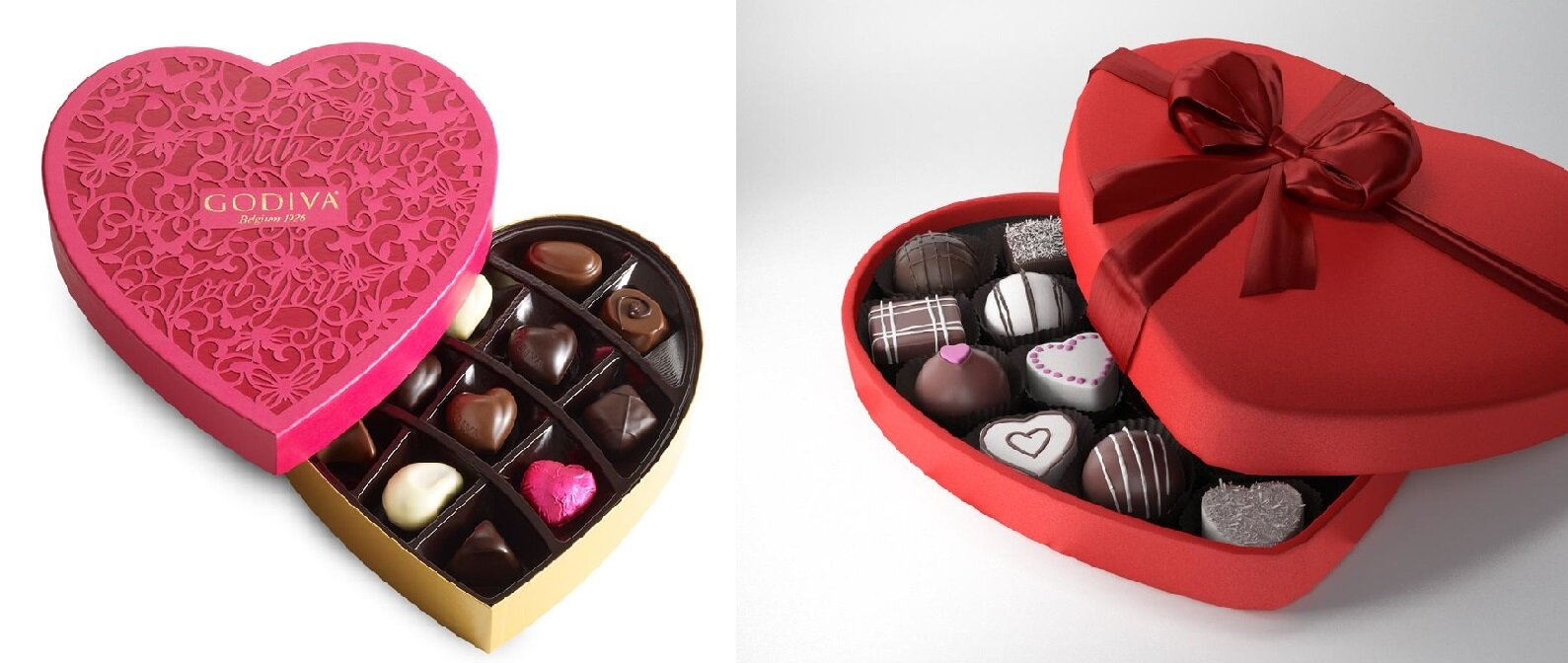 packaging chocolat en forme de coeur