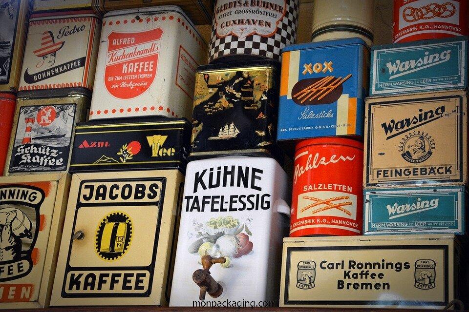 Boîtes vintage, dès le milieu du XXème siècle, la boîte de conserve est utilisée partout dans le monde